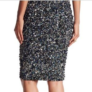 Haute Hippie Mosaic Sequin Pencil Skirt